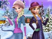 Vista Anna e Elsa no Inverno