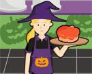 Servir Bolos na Fábrica de Halloween