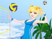 Vista Duas Moças Jogando Vôlei na Praia