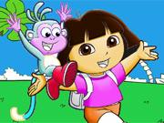 Colorir Dora Feliz com Botas