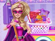 Super Barbie Cuida da Roupa Suja