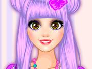 Roupa e Maquiagem Colorida da Rapunzel