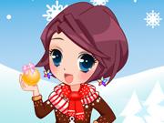 Vista a Garota com Roupas de Natal
