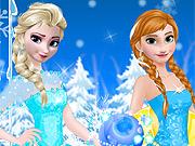 Anna e Elsa Vestidas Para a Festa