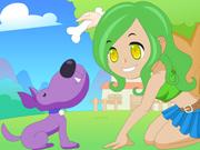 Vista a Moça e o  Seu Cão